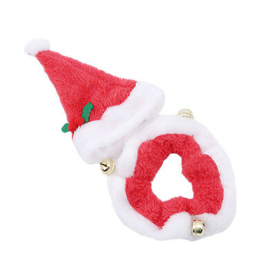 Christmas Party Santa Claus Pet/Dog/Cat Costume Hat And Collar With Bells LD