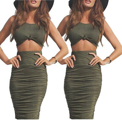 Women  Summer Bodycon Two Piece Crop Top and Skirt Set Slim Dress Party LD