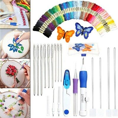 AU DIY Embroidery Pen Knitting Sewing Tool Kit Punch Needle Set+50 Threads Sets