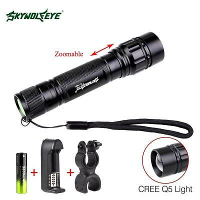 3500LM Zoomable Q5 LED Flashlight Torch Light 18650 Battery+Charger+Bike Clip GL