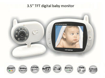 Wireless Digital Baby Monitor 3.5 inch LCD Screen Two Way Audio Night Vision