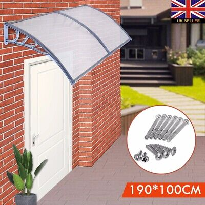 190*100cm Door Canopy Awning Roof Shelter Shade Rain Cover Porch Front Back UK