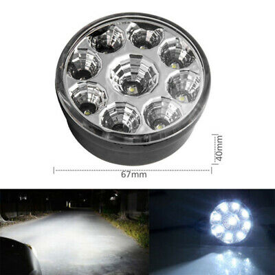 2x 12v 9LED DRL Round Daytime Running Light Car Bike Fog Day Driving Lamp White
