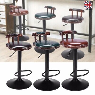Retro Industrial Urban Bar Stool Chair Leather Top Vintage Cafe Counter Seat UK