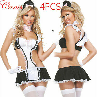 Sexy Women 4PCS Maid Babydoll Outfit Set Halloween Costume Cosplay Fancy Dress