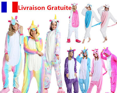 Adulte Kigurumi Pyjama Licorne cosplay combinaison animaux Unicorn Onesie party