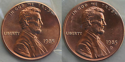 1985 P & D Lincoln Cent 2-Coin from US Mint Set UNC Cello One Cent Penny Set