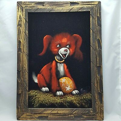 Vintage Mid Century Black Velvet Painting Dog Puppy with Ball Orange Red Kitschy