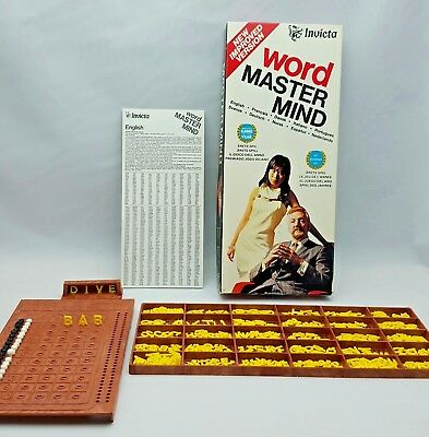 Invicta Word Master Mind Board Game 3071 1975 Plastic Letters Complete Game