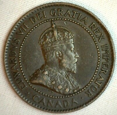 1903 Copper Canadian Large Cent Coin 1-Cent Canada XF #8