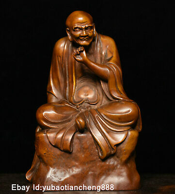 Chinese Buddhism Boxwood wood Carving temple Arhat Luohan Buddha Statue