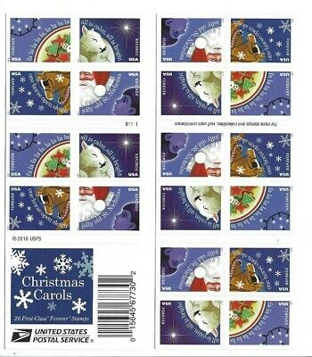 Christmas Carols Usps Forever Stamps Book Of 20 Four New