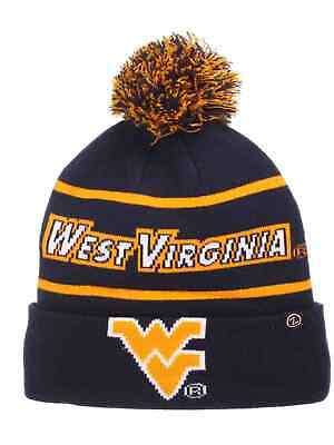 9317ae347b8f0 West Virginia Mountaineers Zephyr Bandit Knit Cuffed Poof Ball Beanie Cap  Hat