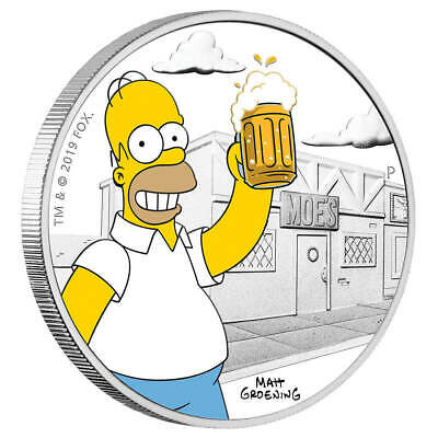 TUVALU $1 Dollar 2019 Homer Simpson ™ 1 Oz silver coin