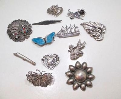 77 Gram Wholesale Lot Of 12 Vintage Antique Sterling Silver Pin Brooches