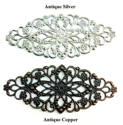Antique Silver Antique Copper Plated 80x35mm Long Oval Flat Filigree Q20