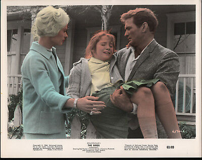 THE BIRDS original tinted lobby photo ROD TAYLOR/TIPPI HEDREN/ALFRED HITCHCOCK