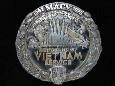 Od09114 Vintage 1982 **Republic Of Vietname Service** Military Belt Buckle