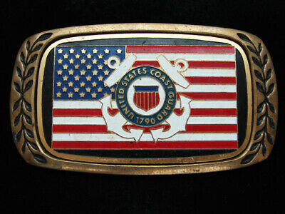 OC13138 VINTAGE 1970s **UNITED STATES COAST GUARD** MILITARY SOLID BRASS BUCKLE