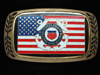 Oc13139 Vintage 1980 **United States Coast Guard** Military Solid Brass Buckle