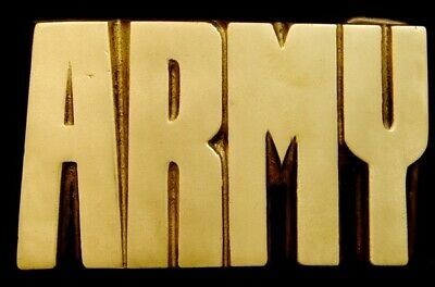 OA30153 *NOS** VINTAGE 1970s CUT-OUT NAME ***ARMY*** MILITARY SOLID BRASS BUCKLE