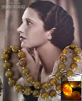 Vintage Art Deco Marbled Butterscotch Faux Amber Beads Necklace Not Bakelite