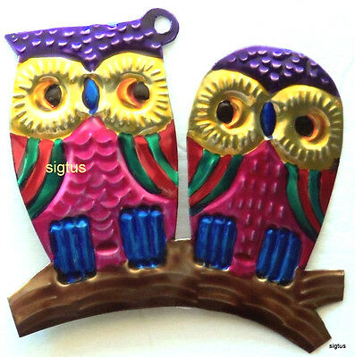 Mexican Hand Painted Tin PAIR OF OWLS Ornament! One of many designs! Wise Guys!