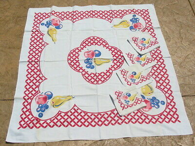 Vtg Tablecloth Table Cloth Fruit 4 Napkins Set Bright Retro Red Lattice Cotton