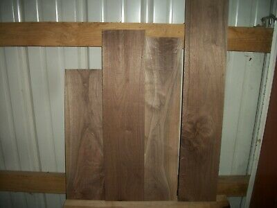 """4 Pc Walnut Lumber Wood Kiln Dried Boards Lot 1127Z End Matched 3/4"""" Thick"""