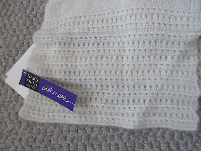 NEW Saks Fifth Avenue Off White 100% Cashmere Scarf NWT Soft Luxury Winter Ivory