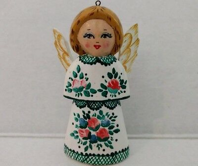 Angel Vtg Wooden Hand Painted Flowers Wings Signed Tole Folk Art Rose Carved 90s