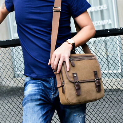 Mens Military Canvas Crossbody Bag Messenger Shoulder Bag Mobile Phone Bag Pouch
