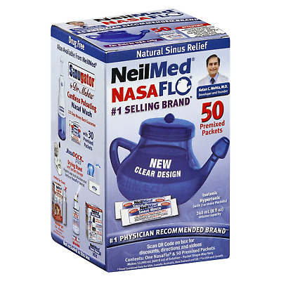NeilMed NasaFlo Neti Pot Sinus Relief W/Mixed Packets, 50ct 705928008168