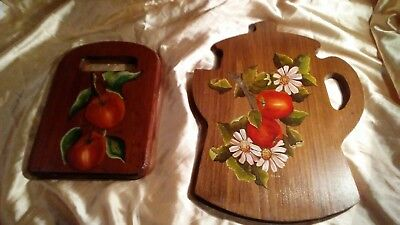 TWO Vintage Hand-painted Apples on Wood Bread Cheese Boards Wall Decor 1960S-70S