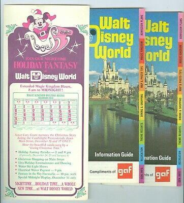 2, 32 Page 1972 Walt Disney World Information Guides plus a Christmas Flyer