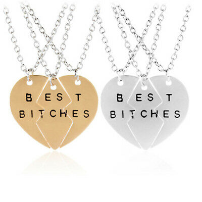 Best Bitches Friend Forever Break Heart Pendant Necklace Hen Do Marriage Gift