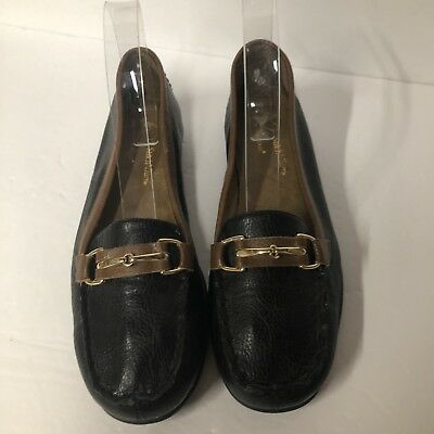 bcb252ebba9 A2 Aerosoles Stitch N Turn Black Brown Loafers Slip Ons Size 7.5 Med Woman s