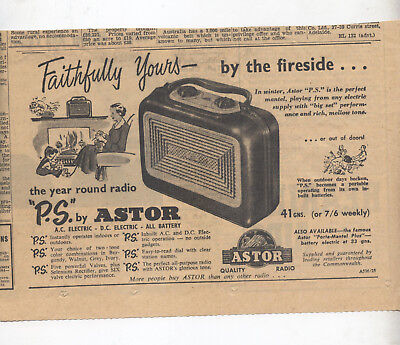 """Astor """"P.S."""" Radio Advertisement removed from a 1953 Australian Newspaper"""