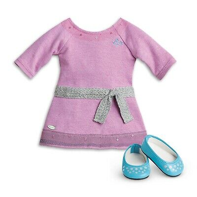 """* AMERICAN GIRL 18"""" OUTFIT Lilac Dress Silver Belt Shoes for doll - LIKE NEW"""