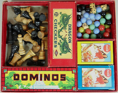 Vtg Coca Cola Coke Board Game Playing Cards Chinese Checkers Dominoes Chess 1931