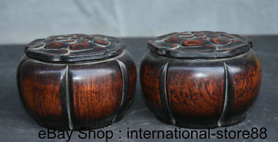"5"" Old Chinese Redwood Palace Carving Game of Go Weiqi Flower Lid Box Jar Pair"