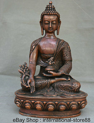 "13.2"" Tibet Red Copper Monastery Seat Menla Medicine Medical God Buddha Statue"
