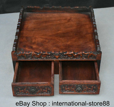 """14"""" Old China Huanghuali Wood Carving Flower 2 Drawer Qing Dynasty Smoke Box"""