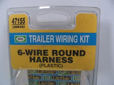 hoppy trailer wiring accessory kit 4 wire flat to 6 round adapter 47155 20645 hoppy hopkins trailer wiring kit 6 wire round harness from 4 flat