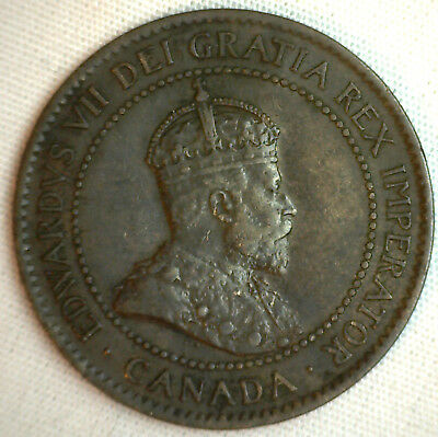 1903 Copper Canadian Large Cent Coin 1-Cent Canada XF #7