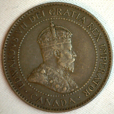 1903 Copper Canadian Large Cent Coin 1-Cent Canada XF #13