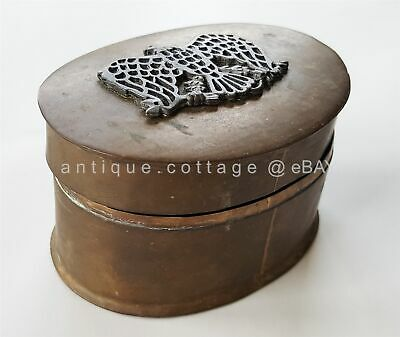 18th C antique BRASS BOX AMERICAN EAGLE tobacco casket trinket hand wrought AAFA