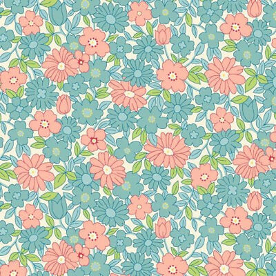 CHAPELLE FABRIC BY JONELLE DURACOLOR PINK GREEN FLORAL 100/% COTTON