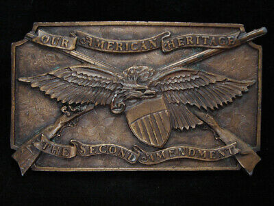 Oc23108 *Nos* Vintage 1976 **Our American Heritage The 2Nd Amendment** Buckle