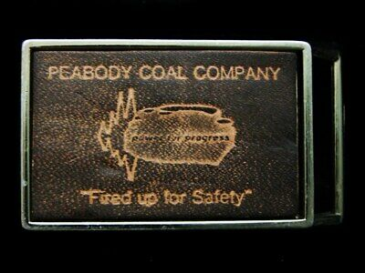 LC25107 VINTAGE 1970s **PEABODY COAL COMPANY** FIRED UP FOR SAFETY MINING BUCKLE